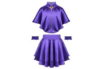 (8-10Years) - Agoky Girls Role Play Costume Fancy Dress Smooth Cape with Short Skirt and Elastic Wristband Outfit for Halloween Party Musicals Purple 8-10 Years