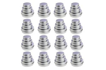 LJY 48 Pieces Round Aluminium Cans Screw Lid Metal Tins Jars Empty Slip Slide Containers (Mixed Sizes)