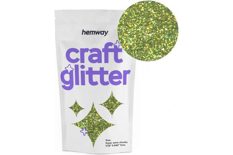 """(LIME GREEN HOLOGRAPHIC) - Hemway Craft Glitter Extra Chunky 1/24"""" 0.040"""" 1MM (Lime Green Holographic)"""