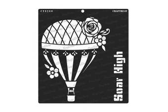 """(Soar High 12""""x12"""") - CrafTreat Hot Air Ballon Stencils for Painting on Wood, Wall, Tile, Canvas, Paper, Fabric and Floor - Soar High - 30cm x 30cm - Reusable DIY Art and Craft Stencils - Hot Air Balloon Card"""