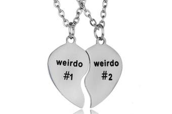 BESPMOSP 2PCs Split Valentine Heart Best Friends Weirdo 1 and Weirdo 2 Pendant Friendship Necklace