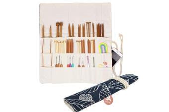 (Navy Leaf) - Knitting Needles Holder Case Rolling Organiser for Crochet Hooks Accessories (Navy Leaf)