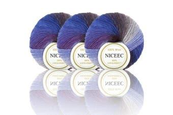 (2#) - NICEEC 3 Skeins 100% Wool Rainbow Yarn Single Ply Yarn Soft Gradient Colourful Yarn Self-Striping Crochet Yarn for Knitting-2#