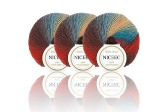 (14#) - NICEEC 3 Skeins 100% Wool Rainbow Yarn Single Ply Yarn Soft Gradient Colourful Yarn Self-Striping Crochet Yarn for Knitting-14#