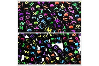 (Black Beads) - Amaney 800pcs 6×6mm Black Cube Acrylic Alphabet Letter Beads A-Z Include 100pcs Heart and Number Beads for Jewellery Making Bracelets Necklaces Key Chains and Kids Jewellery Each Letter Included