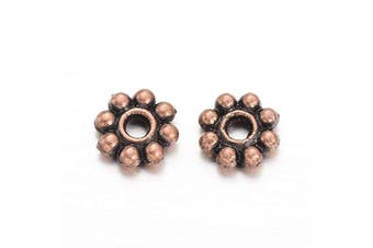 (Red Copper) - Beadthoven 300pcs Tibetan Style Red Copper Plated Alloy Daisy Spacer Beads for DIY Bracelet Necklace Earring Jewellery Making Supplies 5x1.5mm
