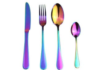 SNOWINSPRING 4 Pcs/Set Stainless Steel Rainbow Cutlery Set Dinnerware Set Western Food Cutlery Dinnerware Tableware Set
