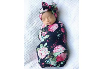 Mummyhug Baby Receiving Blanket Newborn Wrap Floral Printed Swaddle Headband Set