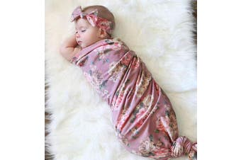 Mummyhug Baby Receiving Blanket Newborn Wrap Floral Printed Swaddle Headband Set -Spring Series