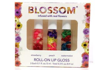 (Strawberry/Peach/Watermelon) - Blossom Roll-On LIP GLOSS Set of 3-0.3oz/8.9ml/each