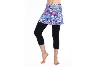 (Small, Colorful-3/4 Tight-Ball Pocket) - ANIVIVO Skirted Tennis Legging for Women, Skirted Capri Leggings Tennis Pants for Women & Sports Capri Skirted Leggings