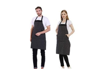 (Bk&wh Stripes) - BIGHAS Adjustable Bib Apron with Pocket Extra Long Ties for Women Men, 13 Colours, Chef, Kitchen, Home, Restaurant, Cafe, Cooking, Baking, Gardening (BK & WH Stripes)