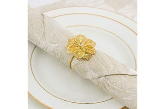 (Flower Gold) - ANPHSIN Set of 8 Napkin Rings Dinning Table Setting for Casual or Formal Occasions- Flower Gold