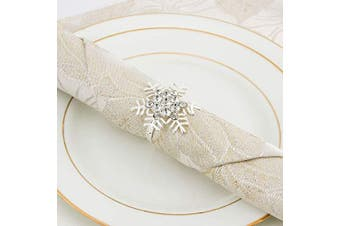 (Snowflake Silver) - ANPHSIN Set of 8 Napkin Rings Dinning Table Setting for Casual or Formal Occasions- Snowflake Sliver