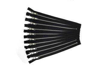 (25cm , silver aluminum) - Silver Aluminium YKK Zippers No. 5 Metal 25cm Zips in Black Pack of 12