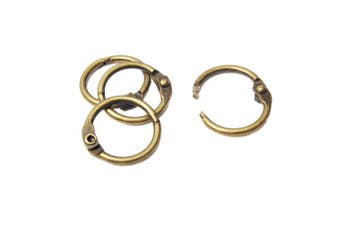 (1.6cm (Antique Brass) 50pcs) - 50pcs Inner Dia. 1.6cm Loose Leaf Book Binder Hinge Snap O Ring Locking Keychain Metal Craft Parts Album Scrapbook Craft (1.6cm (Antique Brass) 50pcs)