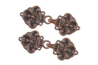 (Antique Copper) - Bezelry 4 Pairs Fleur De Lis Cape or Cloak Clasp Fasteners. 70mm x 26mm. Fastened. Sew On Hooks and Eyes Cardigan Clip (Antique Copper)