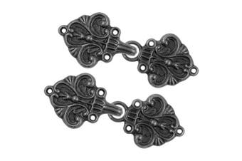 (Vintage Black) - Bezelry 4 Pairs Fleur De Lis Cape or Cloak Clasp Fasteners. 70mm x 26mm. Fastened. Sew On Hooks and Eyes Cardigan Clip (Vintage Black)