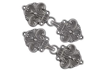 (Gray Silver) - Bezelry 4 Pairs Fleur De Lis Cape or Cloak Clasp Fasteners. 70mm x 26mm. Fastened. Sew On Hooks and Eyes Cardigan Clip (Grey Silver)