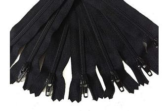 (30cm ) - Black YKK Zippers 36cm Number 3 Nylon Coil Set of 12 Pieces