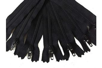 (23cm ) - 23cm Black YKK Zippers Number 3 Nylon Coil Set of 12 Pieces