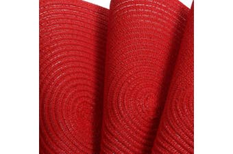 (6, Red) - SHACOS Round Placemats Set of 6 Braided Place Mats for Dining Tables Kitchen Table Mats Washable (Red, 6)
