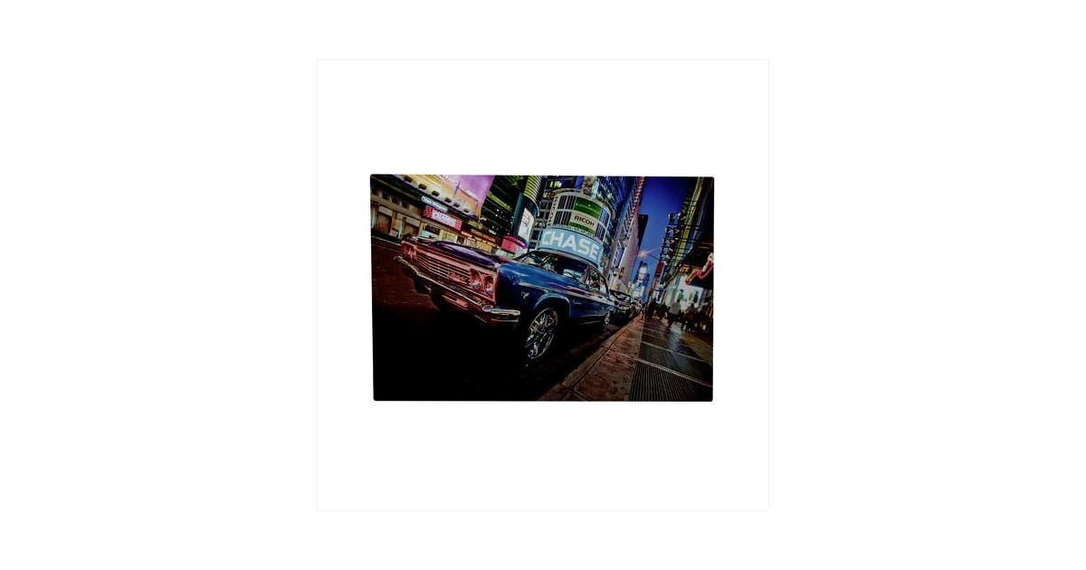 Northlight Seasonal Battery Operated 8 Led Nyc Time Square Classic Car Photographic Print On Canvas Matt Blatt
