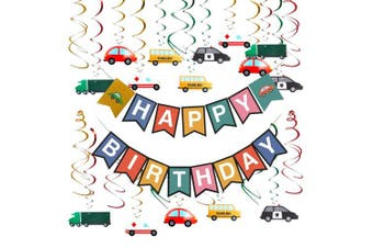 (Car) - Cieovo Colourful Transportation Cars Trucks Buses Hanging Swirl Decoration, Cars Theme Happy Birthday Banner Garland for Transportation Themed Birthday Baby Shower Party Supplies