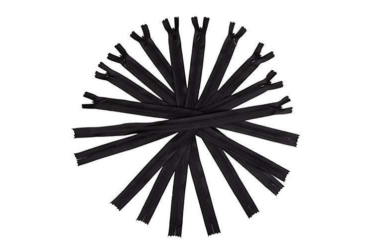 50pcs Long Nylon Invisible Zippers for DIY Sewing Back Dress Cushion Tailoring Accessories Tailor Tool (Black, 50cm )