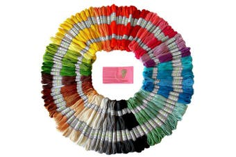 (105-Pcs) - Premium Rainbow Colour Embroidery Floss - Cross Stitch Threads - Friendship Bracelets Floss - Crafts Floss - 105 Skeins Per Pack and Free Set of Embroidery Needles