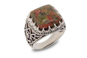 (T 1/2) - Aden's Jewels – Designer Ring for Men Handmade Genuine Agate Stone Cabochon – Solid Silver Aged Effect Biker Ring