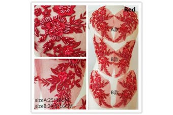 Hand Beaded Flower Sequence 3D Lace Applique Motif Sold by 3 Pairs Great for DIY Decorated Craft Sewing Costume Evening Bridal Top A6 (Red)