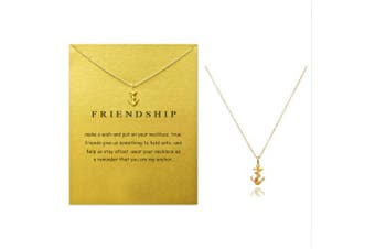 (Anchor with rope) - Clavicle Necklace with Blessing Gift Card, Small Dainty Gold Anchor with Rope Pendant Chain, Classy Costume Choker Jewellery Favours