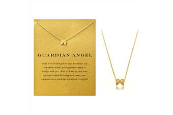 (Wing) - Clavicle Necklace with Blessing Gift Card, Small Dainty Gold Wing with Rope Pendant Chain, Classy Costume Choker Jewellery Favours