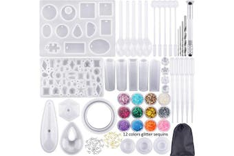 98 Pieces Silicone Casting Moulds and Tools Set with a Black Storage Bag for DIY Jewellery Craft Making