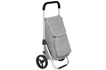 (Grey) - SONGMICS Foldable Shopping Trolley on Wheels, Lightweight Shopping Cart with Insulated Cooling Bag, 40 L Large Capacity, Grey KST04GY