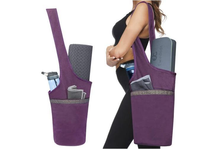 (Purple) - Ewedoos Yoga Mat Bag with Large Size Pocket and Zipper Pocket, Fit Most Size Mats