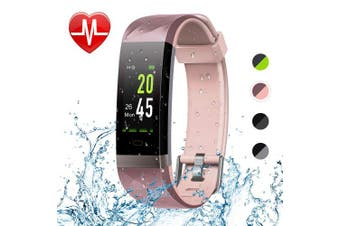 (Pink) - Letsfit Fitness Tracker Colour Screen, Heart Rate Monitor Watch, IP68 Waterproof Bluetooth Activity Tracker, Sleep Monitor, Step Counter, 14 Sport Modes, Pedometer Watch for Men Women Kids