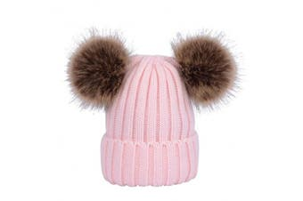 (29-57cm, Pink) - YeahiBaby Baby Knit Hats Winter Warm Beanie Hat Cap with Fluffy Balls for Kids 0-6 Years Old (Pink)