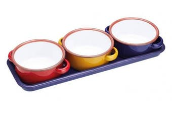 """KitchenCraft World of Flavours Enamel Serving Dishes / Tapas Bowls with Tray, 11 cm (4.5"""") - Multi-Colour (Set of 3)"""