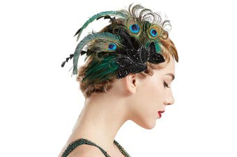 (Peacock-Style1) - BABEYOND 1920s Flapper Hair Clip 20s Great Gatsby Headpiece Peacock Feather Clip 1920s Flapper Gatsby Hair Accessories (Peacock-Style1)
