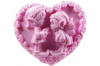 (Heart Shaped10) - GreatMold Heart Shaped Wedding Soap Mould Rose Flower Decorating Silicone Mould Lovely Couple Angel Mould for Soap Making