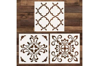 (Style 1) - Cieovo 3 Pieces Wall Tiles Floor Stencil (30cm x 30cm ) Reusable Painting Stencil, Laser Cut Painting Template for DIY Decor Wall Tile Wood Furniture Fabric, Painting on Wood