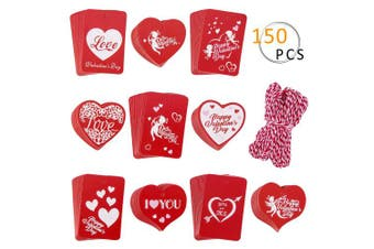 (Valentine gift tag) - APIPI 150 Pieces Heart Valentine Tags, Craft Paper Gift Wrapping Price Labelling with 30 Metres Twine for Valentine's Day Wedding Holiday Party Favour, 10 Styles
