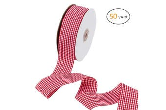 (Ribbon) - Apipi 3.8cm x 50 Yard Lumberjack Ribbon,Gingham Wired Ribbon - Large Buffalo Cheque Ribbon for Christmas Tree, Valentine's Gift Decoration,Lumberjack Party Supplies (Red White)