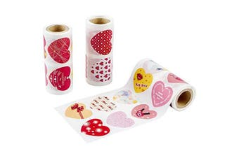 (Valentine Gift Heart Sticker) - Apipi 720 pcs Valentine Heart Love Stickers Decals, 3 Rolls Self Adhesive Craft Paper Scrapbooking Label for Kids Cards, Art & Craft Projects, Sticker-Bombing & Gift Wrappings, Decorative Stickers