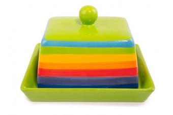 Rainbow Stripe Ceramic Butter Dish with Lid (16cm)