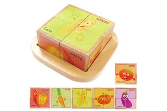 (vegetables) - Wooden Block Puzzles Toys Toddler Six Sides Painting Pattern Jigsaw Vegetables Blocks Cube Puzzle Educational Toy Early Learning Kids Childrens Gifts 2-3 Year Old Girl Boy