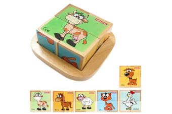(domestic animal) - Wooden Block Puzzles Toys Toddler Six Sides Painting Pattern Jigsaw Domestic Animal Blocks Cube Puzzle Educational Toy Early Learning Kids Childrens Gifts 2-3 Year Old Girl Boy