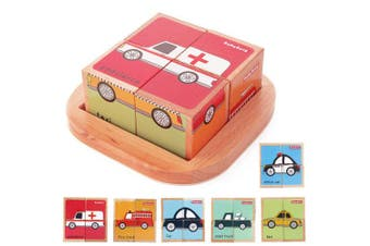 (vehicel) - Wooden Block Puzzles Toys Toddler Six Sides Painting Pattern Jigsaw Vehicle Blocks Cube Puzzle Educational Toy Early Learning Kids Childrens Gifts 2-3 Year Old Girl Boy
